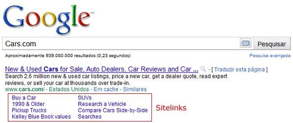 Sitelinks do Google